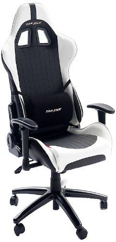 DX Racer6 Gaming Stuhl, Schreibtischstuhl, Bürostuhl, Chefsessel mit Armlehnen, Gaming chair, Gestell Kunststoff, 78 x 52 x 124-134 cm, Kunstleder PU schwarz / weiß