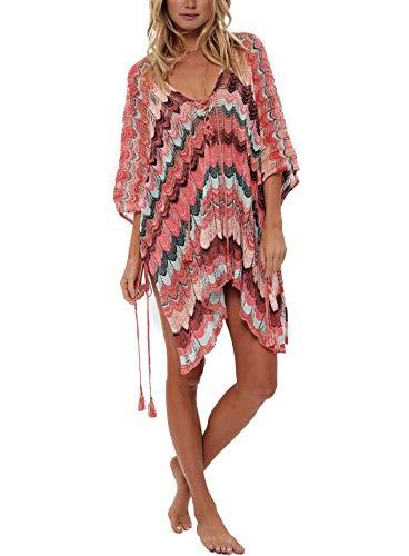 Women's Bathing Suit Cover Up for Beach Pool Swimwear Crochet Dress (Pink Stripe, L) ()