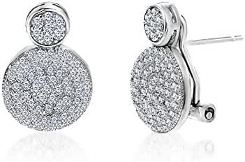 18K White Gold Over Sterling Silver Cubic Zirconia Double Pave Circle Omega Earring