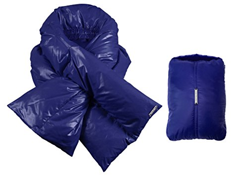 (Coatology Women's Down Scarf with Matching Mini Travel Pouch, cobalt, O/S)