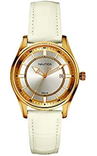 Nautica Womens N12593M NCT 500 Date White Leather Watch