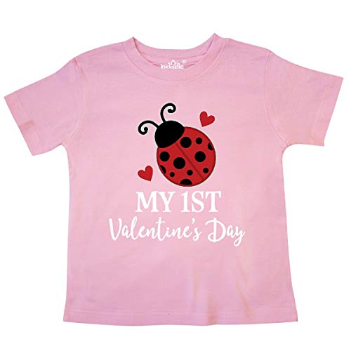 - inktastic - First Valentines Day Cute Ladybug Toddler T-Shirt 4T Pink 33745