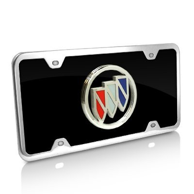 (Au-Tomotive Gold, INC. Buick Color Logo Black Acrylic License Plate with Chrome Frame)