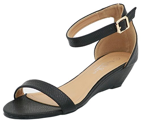 AgeeMi Shoes Mujeres Sandalias Cuña Punta Abierta Elegante Verano Zapatos Negro