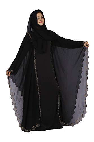 D C Women's Lycra & Georgette Dubai Butterfly Stone Work burqa for women Abaya with Hijab (Dupatta) and Mouthpiece(Black…