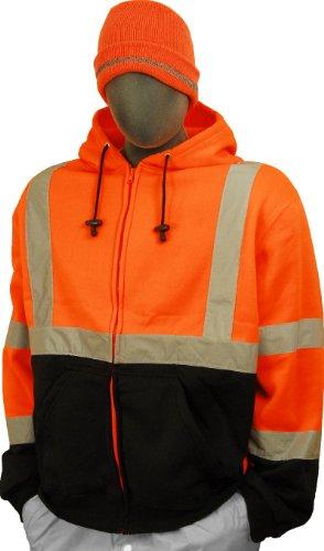 Majestic Glove 75-5326 High Visibility Sweatshirt with Zipper Front Hood, Large, Orange/Black ()