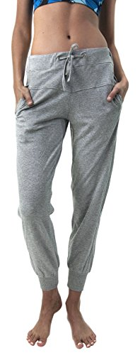 Satva Organic Cotton Adjustable Waist Amy Jogger with A Ribbed Cuff, Heather Grey, Large (Ribbed Modal)