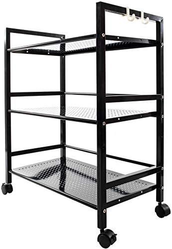 Shelf Metal Rolling Kitchen Storage Cart Organizer Microwave Oven Stand Cart on Wheels Mobile Utility Cart Black