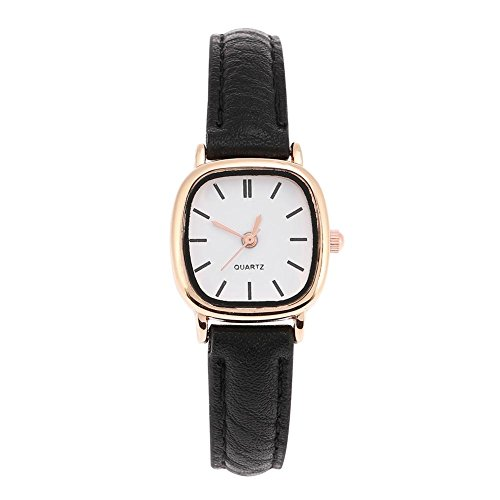 Womens Quartz Watches Simple Design Analogue Wristwatch Comfortable Leather Strap Lady Wrist Watch Female Watches Watches for Teenagers(Black Strap White Dial)