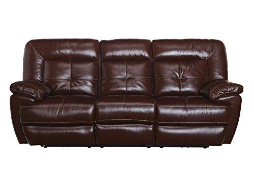 Common Home CH0017 Edwin Reclining Leather Sofa, Mahogany