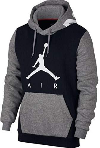 Jordan Nike Mens Air Jumpman Graphic Pull Over Hoodie Black Carbon Heather  AV2321-010 b79ed0cb84b59