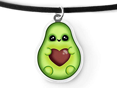 Kawaii Avocado Charm Choker - Foodie Gift, Kei, Aesthetic, Soft Grunge, Dangle Charm Choker