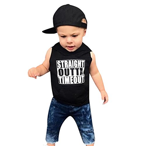 Lurryly 2Pcs Baby Boys Clothing Letter Printed Hooded Tops T-Shirt+Denim Pants 1-4 T