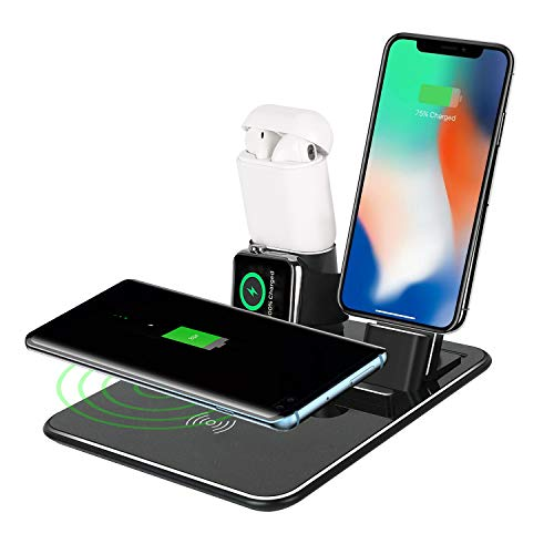 Wireless Charger Stand Station Loeowo 4 in 1 Aluminum Charging Dock for  Apple Watch,Airpods Qi Fast Wireless Charger Holder Compatible with iPhone  Xs