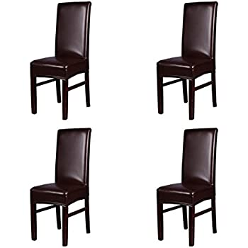 Superieur Jiuhong PU Leather Chair Seat Covers Splipcovers Waterproof Oilproof Dining Chair  Cover Slipcover, Brown, 4 Pack