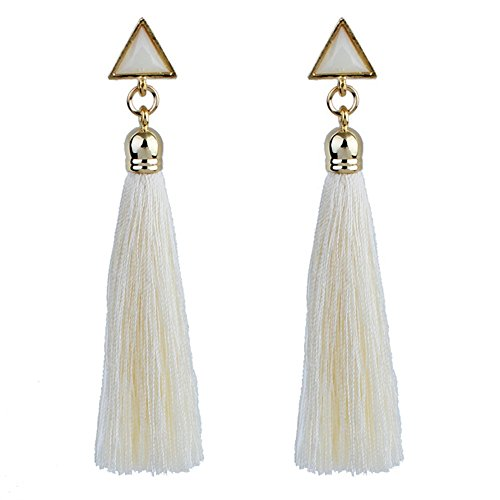 Gbell Women Bohemian Earrings Ethnic Hanging Rope Tassel Earrings Jewelry Gifts Fashion for Ladies Girls (White)