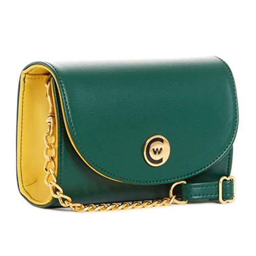 Compliant Chain Clutch Green Stadium Crossbody gold Handbag Women Yellow q8Fp7