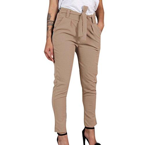 Mujer Pantalones Largo, Moda Cintura Media Slim Fit Pantalon con Bolsillos Cómodo Cintura Elástica Color Sólido Casual Pantalones Streetwear Caqui