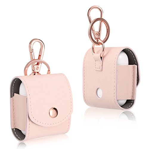 (Leather Airpods Case Cover with Metal Clasp and Keychain Compatible Earphones Charging Case (Pink))