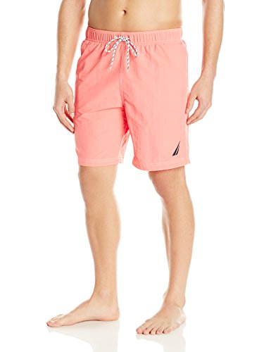 Nautica Men's Standard Solid Quick Dry Classic Logo Swim Trunk, Pale Coral, Large