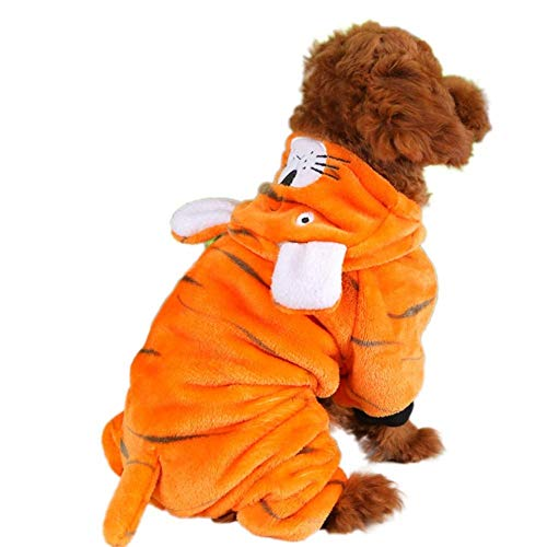 Coppthinktu Tiger Dog Costume Halloween Pet Fleece Clothes Hooded Sweaters Coat Jumpsuit Fancy Dress