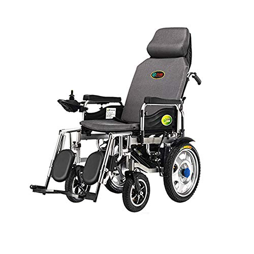 GY Electric Wheelchair Folding Collapsible Light Old Man Scooter Full Lay Elderly Disabled Four-Wheel Automatic Intelligent - Gray