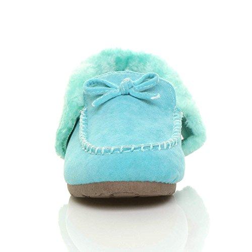Fourrure Pantoufles De Imitation Dames Mocassins Mouton De Des Semelle Peau Taille Des Chaussures Femmes D'hiver Souple Bleu Luxe q7xww6O