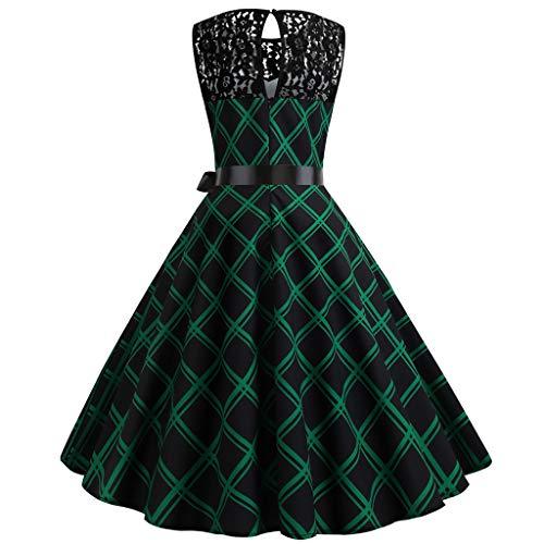 Verde Top Retrò Bowknot Alta Senza Eleganti Stampa Maniche Donna Dragon868 Prom Pizzo Printed Sleeveless Vita Party Dress Vintage Evening Swing Women Nero Vestito Strisce nXNPkZOw80