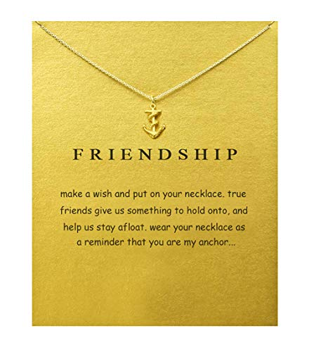 BECEDE Friendship Clover Necklace Unicorn Good Luck Elephant Butterfly Palm Aliens Lotus Cat-Ears Lucky Bird Pendant Necklace with Message Card Gift Card (Anchor-Gold) ()