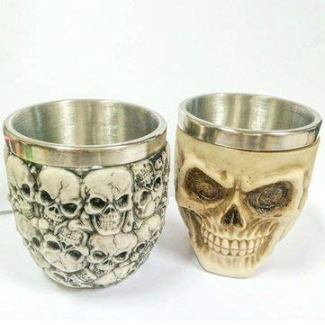 Retro 3D Stainless Steel Skull Cup Novelty Skull Head Vodka Mug Coffee Drinking Cup Drinkware - Drinkware & Tea Sets Water Bottles & Cups - (A)