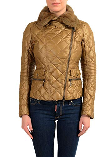 Moncler ORTIE Women's Brown Fur Collar Down Jacket Coat Moncler Sz 1 US S