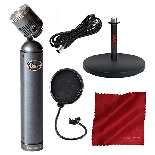 Blue Hummingbird Condenser Microphone with Pivoting Head and Mic Stand + Pop Filter Accessory - Pivoting Pedestal