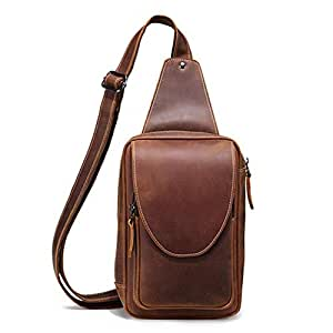 Lcxliga Men's Leather Sling Bag Multipurpose Daypack Shoulder Chest Crossbody Bag