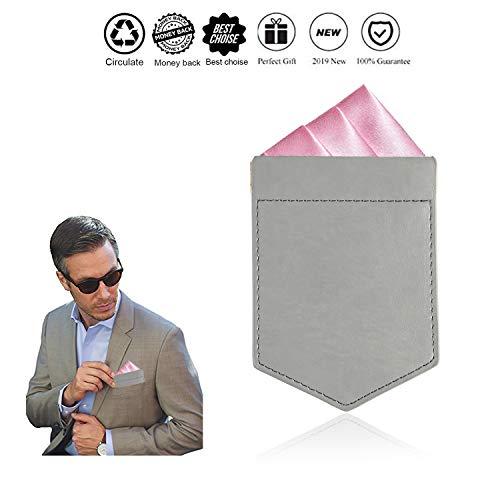 ONLVAN Pocket Square Holder Leather Pocket Square Holder for Men/'s Suit Handkerc