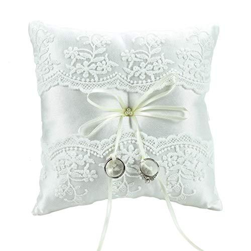 "Timoo Ring Bearer Pillow, 7.87"" Wedding Ring Pillow, White Ring Pillows for Wedding"