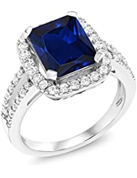 4.62 Ct Emerald cut Blue Simulated Sapphire 925 Sterling Silver Women's Ring