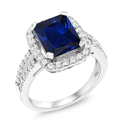 4.62 Ct Emerald cut Blue Simulated Sapphire 925 Sterling Silver Women's Ring (Size 7) -