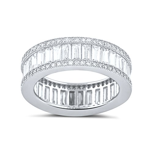 Sterling Silver Simulated Diamond Baguette Eternity Ring - Size 5