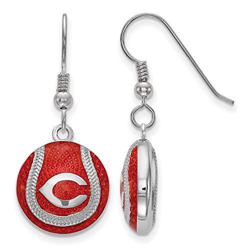 MLB Cincinnati Reds Sterling Silver Cincinnati Reds Domed Enameled Baseball Earrings Size One Size