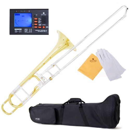 Mendini MTB-31 Intermediate B Flat Tenor Slide Trombone with F Trigger with Tuner, Case, Mouthpiece, Gloves and Cleaning Cloth by Mendini