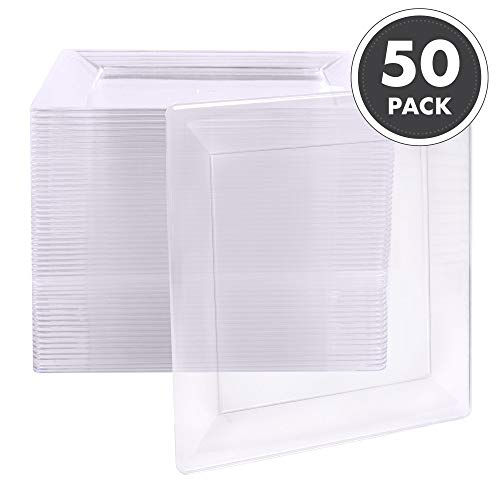 50 Plastic Square Plates - 6.5 Inch Clear Disposable Plates for Dessert, Salad or Appetizer, Bulk Set ()