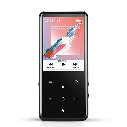 MP3 Player with 2.4 Inch TFT Color Screen, Lossless Sound 8GB Music Player Touch Buttons with Backlight, Support Up to 128GB, Black C2 [2018 Upgraded] ()