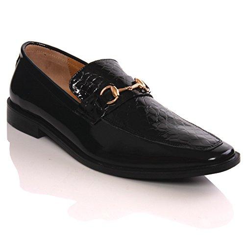 Unze New Mens  CASA  Designer Leder Slipns Mode, Formales Kleid-Schuhe - G00260 Schwarz