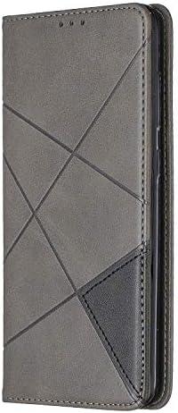 Lomogo Galaxy A70 Hülle Leder, Schutzhülle Brieftasche mit Kartenfach Klappbar Magnetverschluss Stoßfest Kratzfest Handyhülle Case für Samsung Galaxy A70 - LOBFE160077 Grau