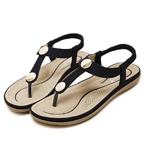 Btrada Femmes Sandales Été Simple Boucle En Métal Plat Clip Toe Élastique  Plage Chaussures Noir ...