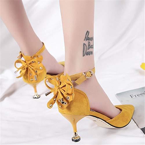 Con Bianco A Punta Alti Da Tide Yukun Super 38 Scarpe Yellow Tacchi Donna Tacchi Stiletto Bocca Alti Tacchi Impermeabile alti Da Slim Donna Moda Punta 6OZOnx