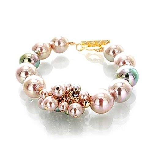 8 1/2 Silver Gold Two 2 Tone Glass Pearl Bead Toggle Fashion Jewelry Bracelet id-2564