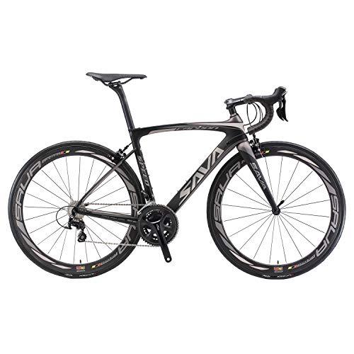 🥇 SAVADECK HERD6.0 700C Bicicleta de Carretera de Fibra de Carbono Shimano 105 R7000 22S Sistema de transmisión Michelin Neumático Fizi:k Sillín