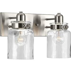 Progress Lighting P300046-009 Calhoun Collection Two-Light Bath & Vanity, Brushed Nickel
