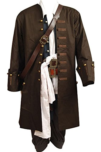 Quality Adult Costumes (mingL Captain Jack Sparrow Halloween Cosplay Costume Outfit Full Suit Old)